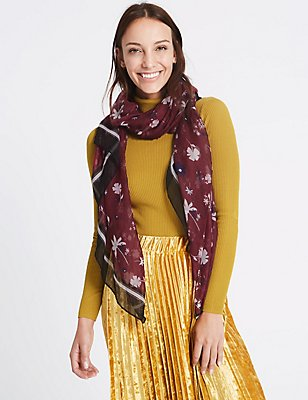 Floral Print Scarf, BERRY, catlanding