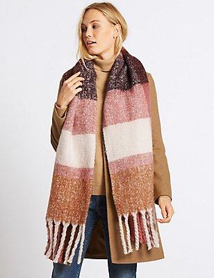 Tassel Blanket Scarf, PINK MIX, catlanding
