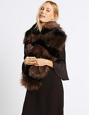 Faux Fur Scarf, NATURAL MIX, catlanding
