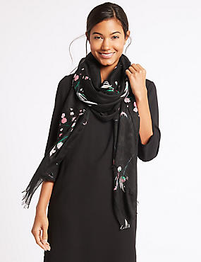 Floral Print Scarf , BLACK MIX, catlanding