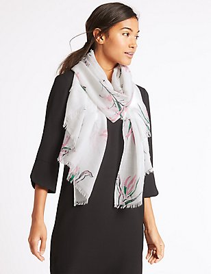 Floral Print Scarf , WHITE MIX, catlanding