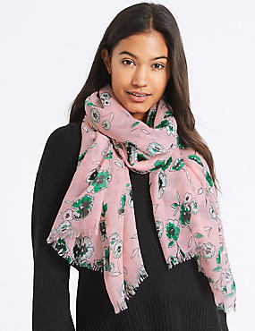 Floral Print Scarf, PINK MIX, catlanding