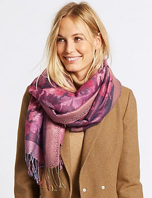 Floral Jacquard Scarf, PINK MIX, catlanding