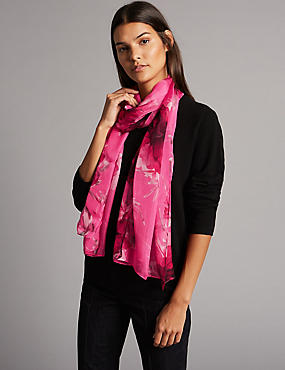 Pure Silk Floral Print Scarf , PINK MIX, catlanding