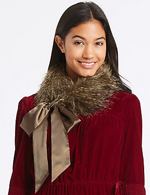 Faux Fur Tippet Scarf , BROWN, catlanding