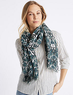 Leaf Print Scarf, GREEN MIX, catlanding