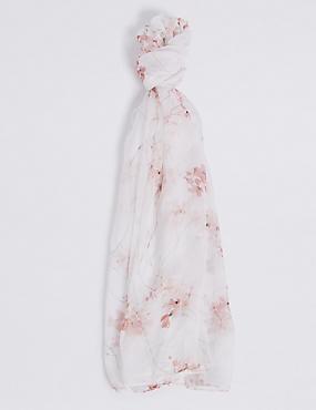 Pure Silk Floral Print Scarf, CREAM MIX, catlanding
