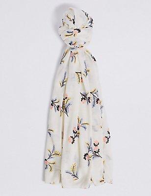 Floral Print Scarf, CREAM MIX, catlanding