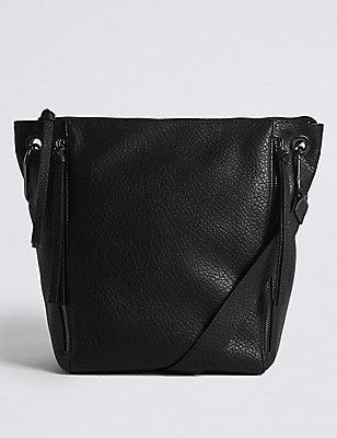 Faux Leather Messenger Bag, BLACK, catlanding