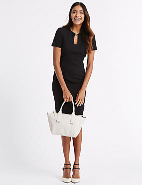 Leather Casual Grab Tote Bag, PUTTY MIX, catlanding