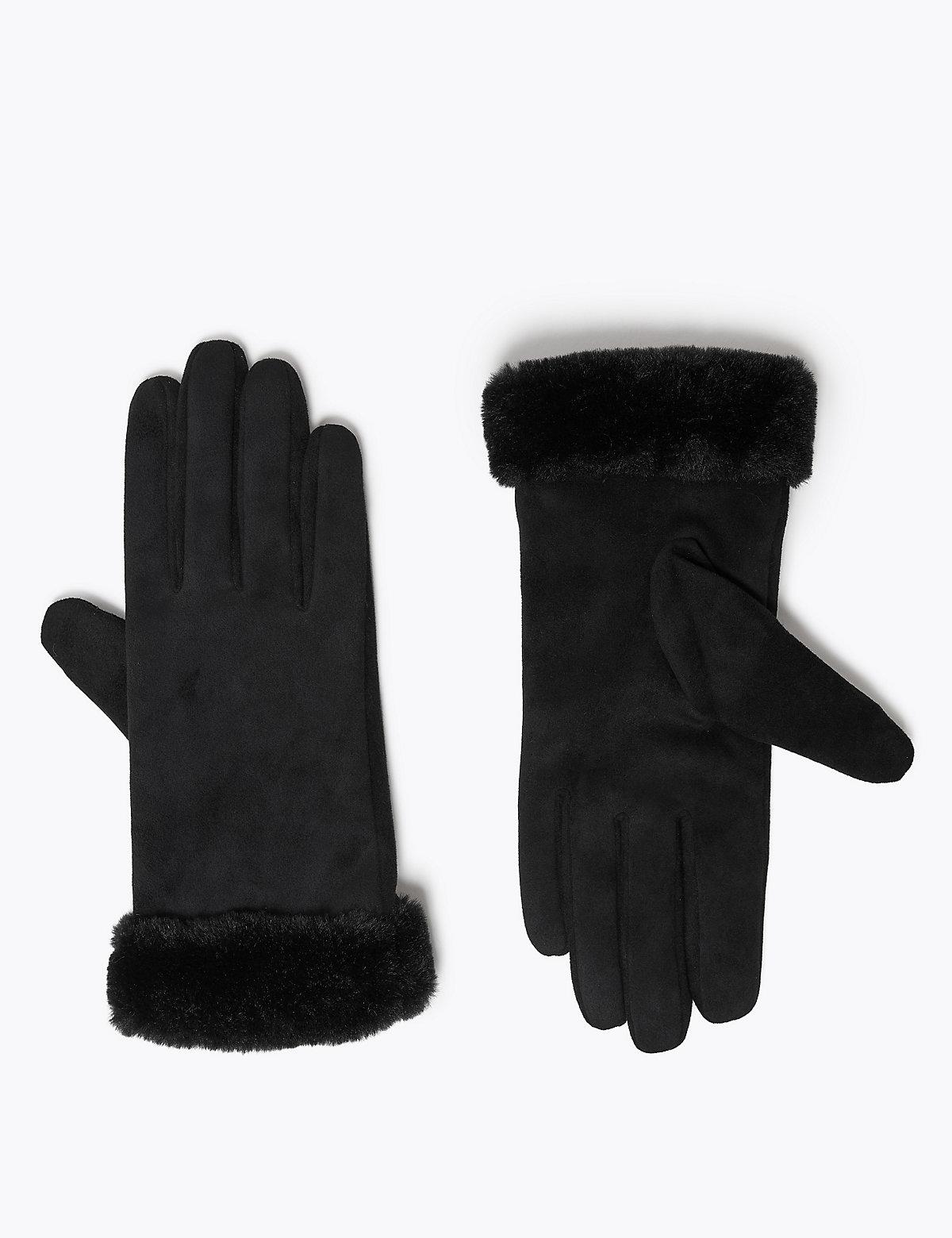 Перчатки из искусственной овчины M&S Collection. Цвет: черный