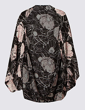 Floral Scribble Print Cocoon Wrap