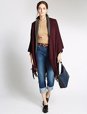Poncho avec bordure et détail couture, ROUGE VIOLET, catlanding