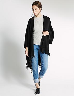 Poncho avec bordure et détail couture, NOIR, catlanding