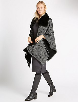 Fur Collar Knitted Wrap, BLACK MIX, catlanding