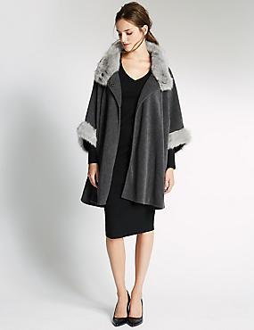 Fur Fleece Wrap, CHARCOAL, catlanding