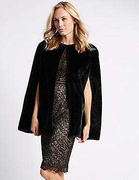 Faux Fur Cape Wrap, BLACK, catlanding