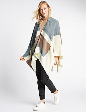 Block Knit Wrap, GREY MIX, catlanding