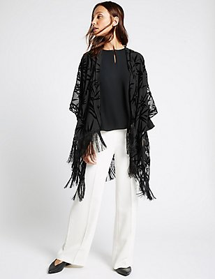 Velvet Burnout Kimono Wrap, BLACK, catlanding