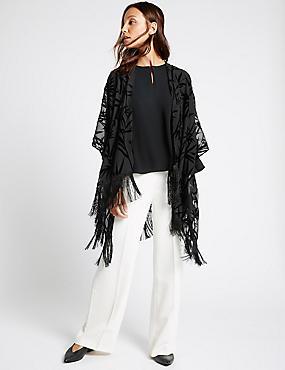 Kimono en velours, effet dévoré, NOIR, catlanding