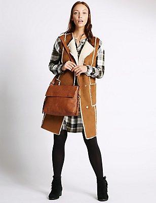Faux Leather Grainy Messenger Bag, TAN, catlanding