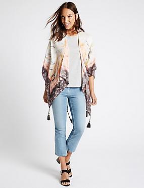 Pure Modal Border Floral Kimono, CREAM MIX, catlanding