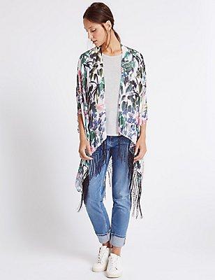 Pure Modal Floral Print Kimono, CREAM MIX, catlanding