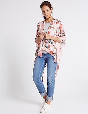 Poncho style kimono 100% modal, ROSE ASSORTI, catlanding