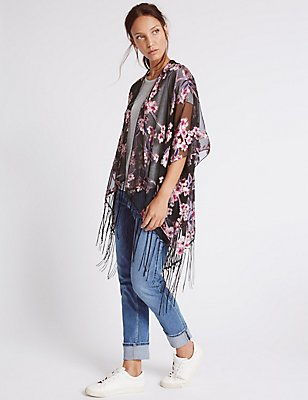 Floral Blossom Burnout Kimono, PINK, catlanding