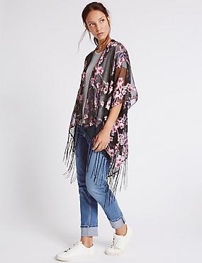 Floral Blossom Burnout Kimono Wrap, PINK, catlanding