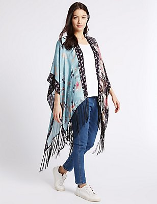 Pure Modal Patchwork Kimono Wrap, BLUE MIX, catlanding