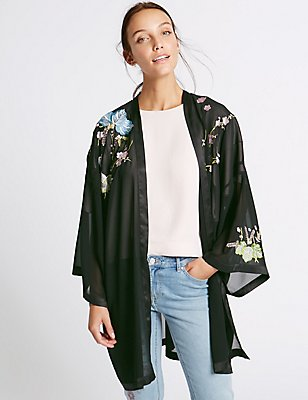 Sleeved & Embroidered Kimono Wrap, BLACK MIX, catlanding