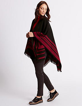 Reversible Border Stripe Wrap, RED MIX, catlanding