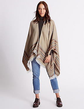 Reversible Border Stripe Wrap, CREAM MIX, catlanding