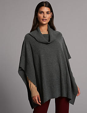 Pure Cashmere Turtle Neck Wrap , CHARCOAL, catlanding