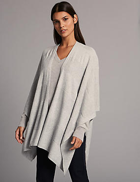 Pure Cashmere Stitch Wrap , GREY, catlanding