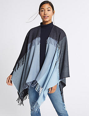 Double Fringe Checked Wrap, BLUE MIX, catlanding