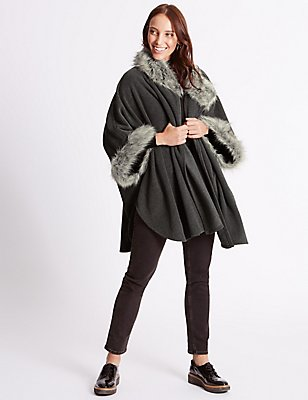 Faux Fur Fleece Wrap, CHARCOAL, catlanding