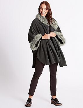 Faux Fur Fleece Wrap, CHARCOAL, catlanding