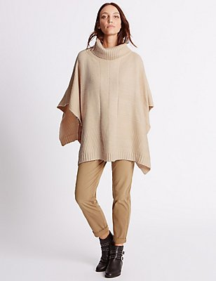Mixed Stitch Poncho, , catlanding