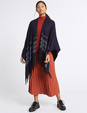 Tonal Striped Wrap, NAVY MARL, catlanding