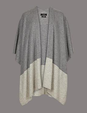 Pure Cashmere Colour Block Wrap , GREY MIX, catlanding