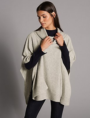 Pure Cashmere Ribbed Funnel Neck Wrap, GREY, catlanding