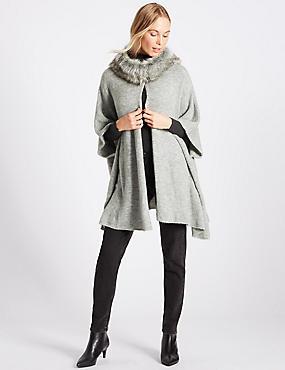Faux Fur Knitted Wrap, SILVER GREY, catlanding
