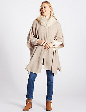Faux Fur Knitted Wrap, NATURAL MIX, catlanding