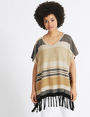 Striped Tassel Poncho, NATURAL MIX, catlanding
