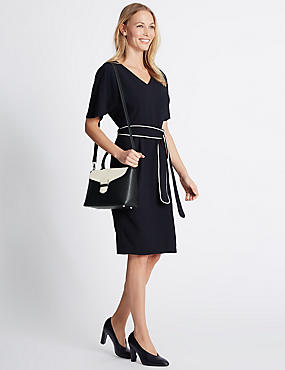 Faux Leather Mini Grab Tote Bag, BLACK MIX, catlanding