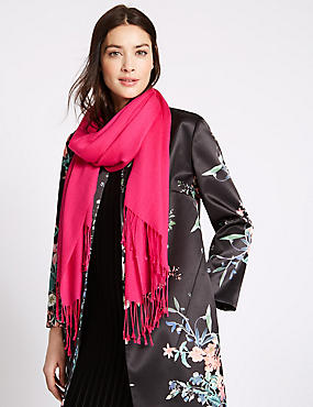 Modal Blend Scarf with Wool, PINK, catlanding