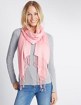 Modal Blend Scarf with Wool, MEDIUM PINK, catlanding