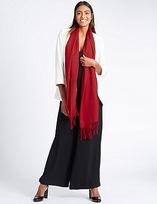 Modal Blend Pashminetta Scarf with Wool, RED, catlanding
